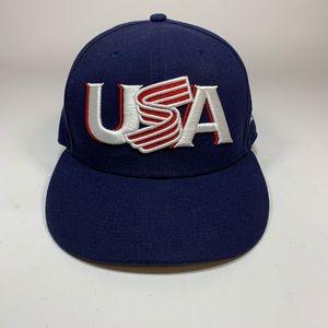 Team USA New Era Baseball Cap Navy Sz 7 3/8 Fitted